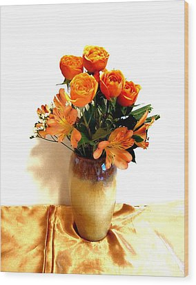 Orange Rose Bouquet Wood Print by Marsha Heiken