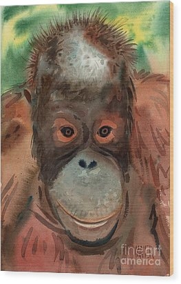 Orangutan Wood Print by Donald Maier