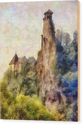 Orava Castle - Rear Side Wood Print by Peter Kupcik