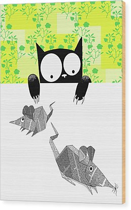 Origami Mice  Wood Print by Andrew Hitchen