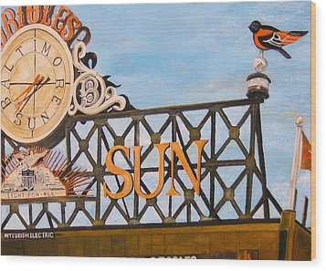 Orioles Scoreboard At Sunset Wood Print by John Schuller