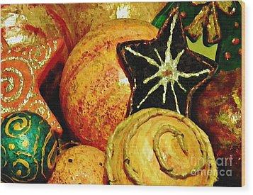 Ornaments 2 Wood Print by Sarah Loft