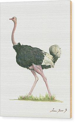 Ostrich Wood Print by Juan Bosco