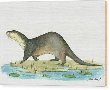 Otter Wood Print by Juan Bosco