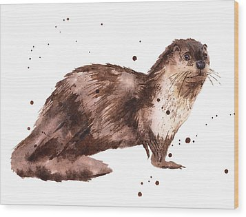 Otter Painting Wood Print by Alison Fennell