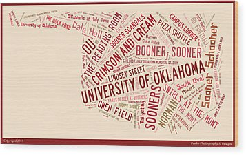 Ou Word Art University Of Oklahoma Wood Print by Roberta Peake
