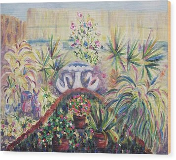 Our Private Yard Wood Print by Suzanne  Marie Leclair