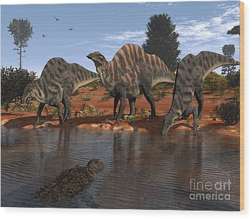 Ouranosaurus Drink At A Watering Hole Wood Print by Walter Myers