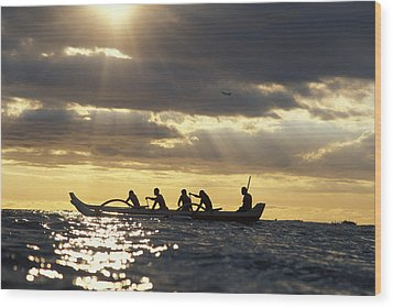 Outrigger Canoe Wood Print by Vince Cavataio - Printscapes