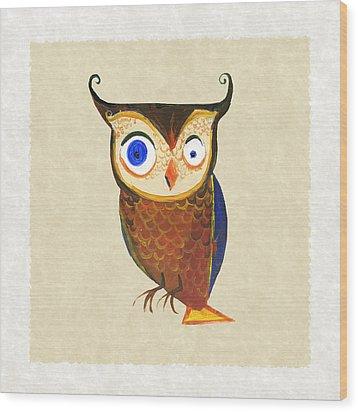 Owl Wood Print by Kristina Vardazaryan