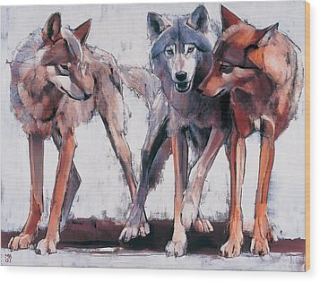Pack Leaders Wood Print by Mark Adlington