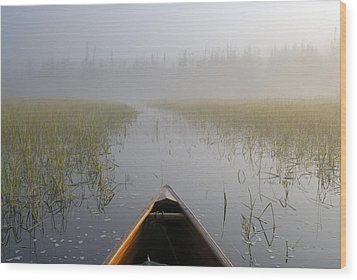 Paddling Into The Fog Wood Print by Larry Ricker