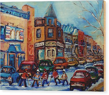 Paintings Of Montreal Hockey On Fairmount Street Wood Print by Carole Spandau