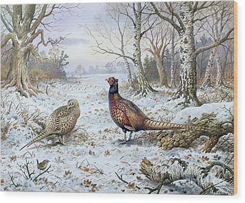 Pair Of Pheasants With A Wren Wood Print by Carl Donner