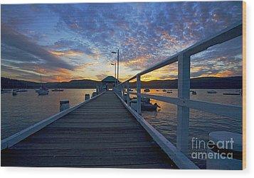 Palm Beach Wharf At Dusk Wood Print by Avalon Fine Art Photography