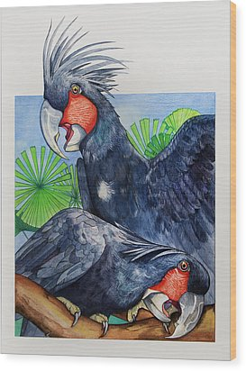 Palm Cockatoos Wood Print by Robert Lacy
