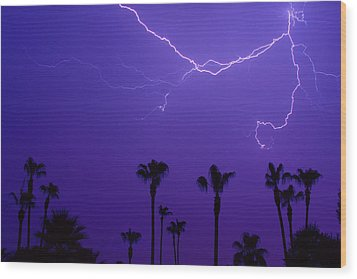 Palm Trees And Spider Lightning Striking Wood Print by James BO  Insogna