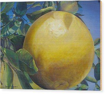 Pamplemousse Wood Print by Muriel Dolemieux