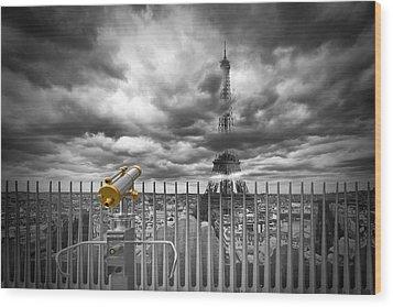 Paris Composing Wood Print by Melanie Viola