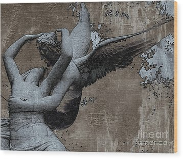 Paris Eros And Psyche - Surreal Romantic Angel Louvre   - Eros And Psyche - Cupid And Psyche Wood Print by Kathy Fornal