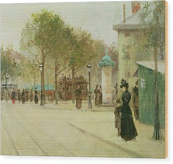 Paris Wood Print by Paul Cornoyer