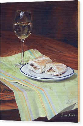 Parisian Lunch Wood Print by Jeanne Rosier Smith