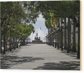 Paseo De La Princesa In San Juan Wood Print by George Oze