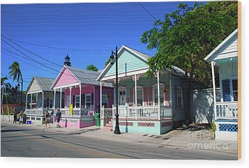 Pastels Of Key West Wood Print by Susanne Van Hulst