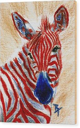 Patriotic Zebra Aceo Wood Print by Brenda Thour