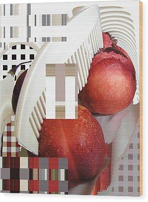 Peach And Haircomb Wood Print by Evguenia Men