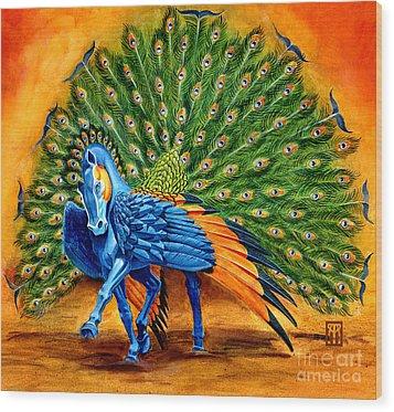 Peacock Pegasus Wood Print by Melissa A Benson