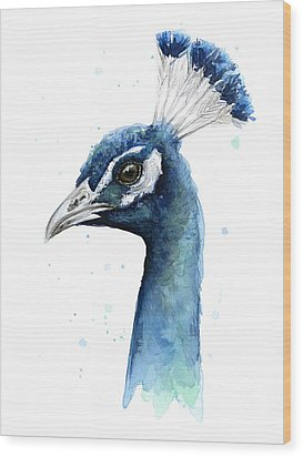 Peacock Watercolor Wood Print by Olga Shvartsur