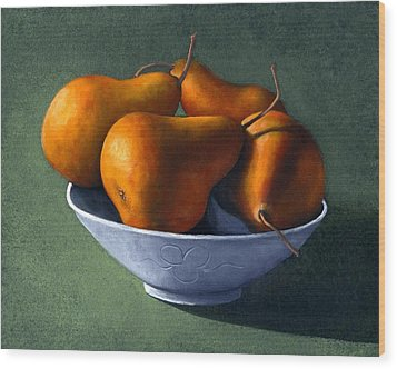Pears In Blue Bowl Wood Print by Frank Wilson