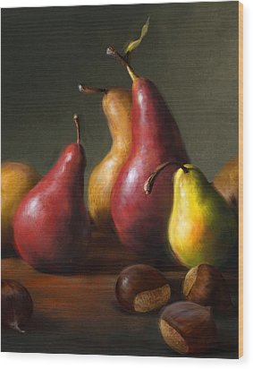 Pears With Chestnuts Wood Print by Robert Papp