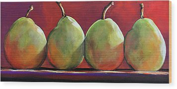 Peartastic Wood Print by Toni Grote
