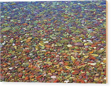 Pebbles Wood Print by Marty Koch