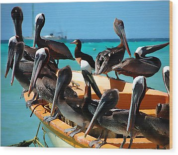 Pelicans On A Boat Wood Print by Bibi Romer