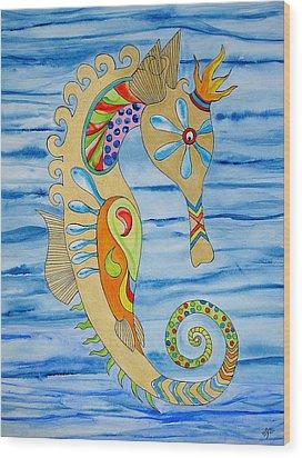 Penelope The Seahorse Wood Print by Erika Swartzkopf