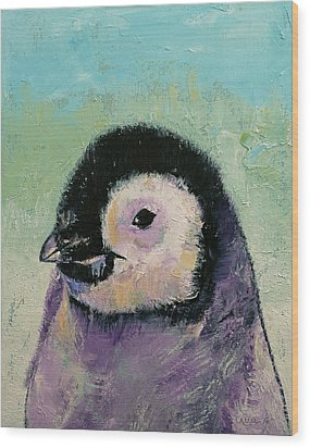 Penguin Chick Wood Print by Michael Creese
