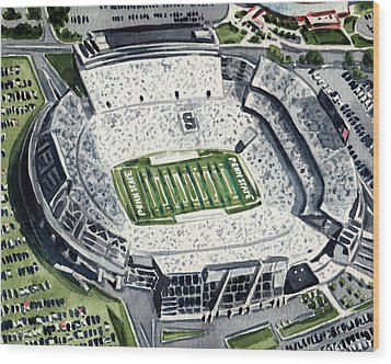 Penn State Beaver Stadium Whiteout Game University Psu Nittany Lions Joe Paterno Wood Print by Laura Row