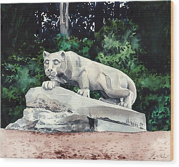 Penn State Nittany Lion Shrine University Happy Valley Joe Paterno Wood Print by Laura Row