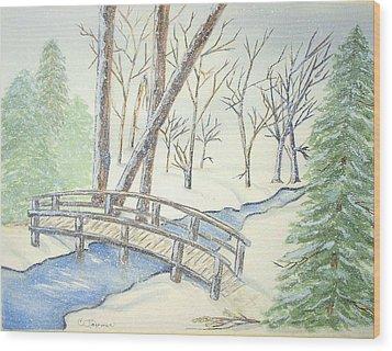 Pennsylvania Winter With Bridge Wood Print by Constance Larimer