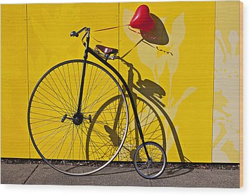 Penny Farthing Love Wood Print by Garry Gay