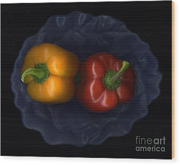 Peppers And Blue Bowl Wood Print by Christian Slanec