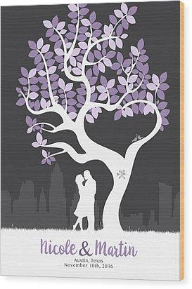 Personalized Austin Texas Skyline Wedding Gift Wood Print by Aged Pixel