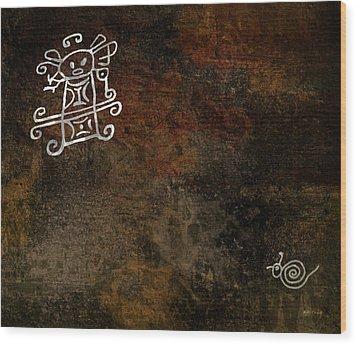 Petroglyph 8 Wood Print by Bibi Romer
