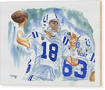 Peyton Manning - The Technician Wood Print by George  Brooks