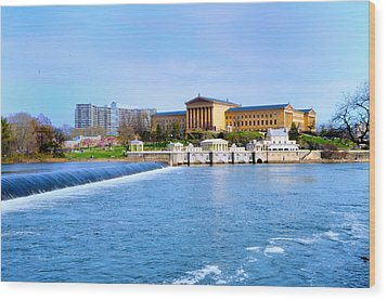 Philadelphia Museum Of Art And The Philadelphia Waterworks Wood Print by Bill Cannon