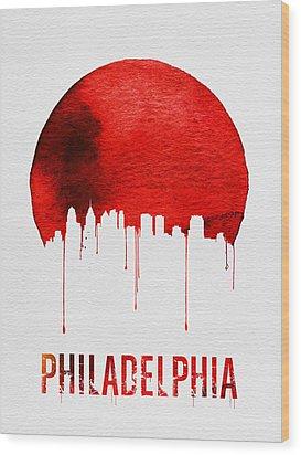 Philadelphia Skyline Redskyline Red Wood Print by Naxart Studio