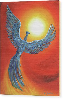 Phoenix Rising Wood Print by Laura Iverson